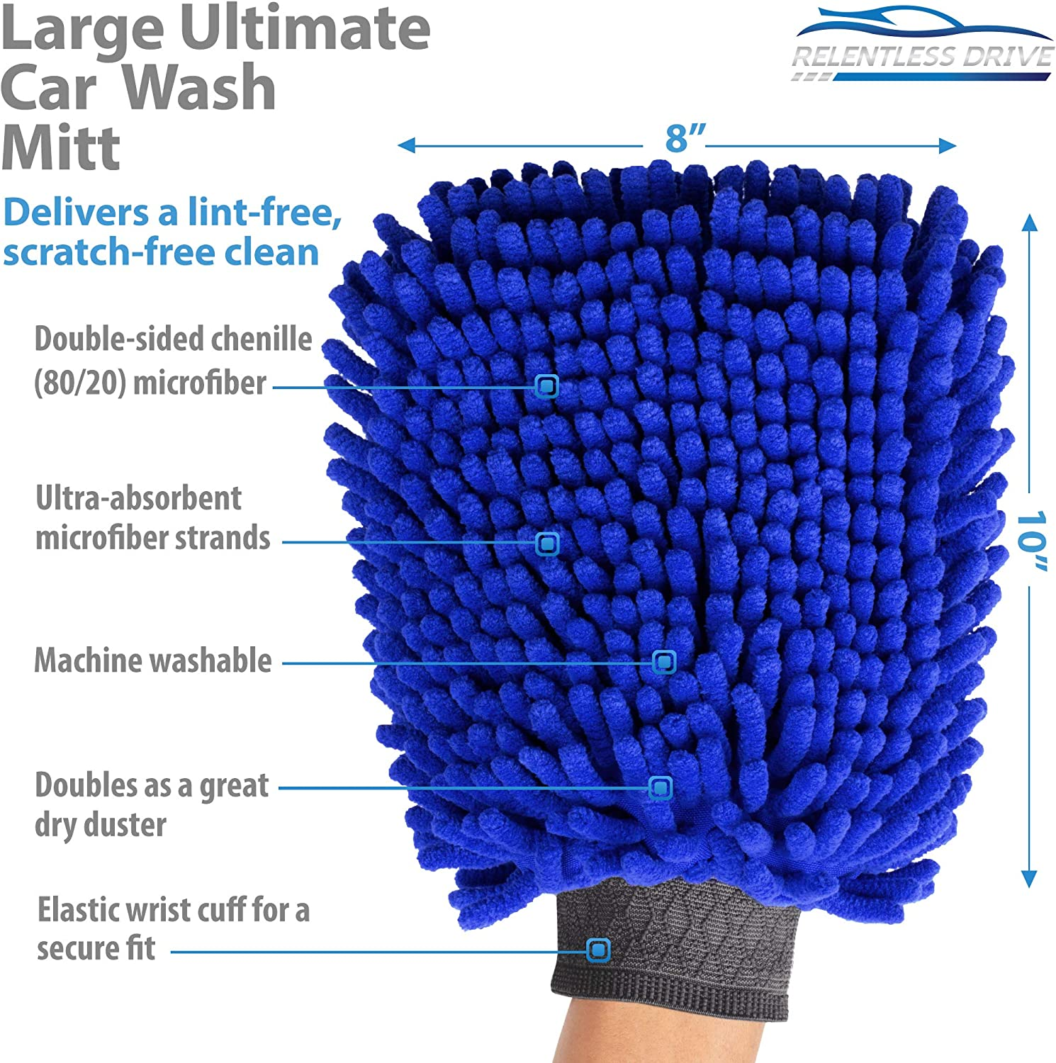 4 in 1 ZaCoo 2-Pack Car Wash Mitt Double Sided +2 Side mesh Premium Chenille Microfiber Wash Mitts for Car Cleaning Scratch-Free No Falling Wool