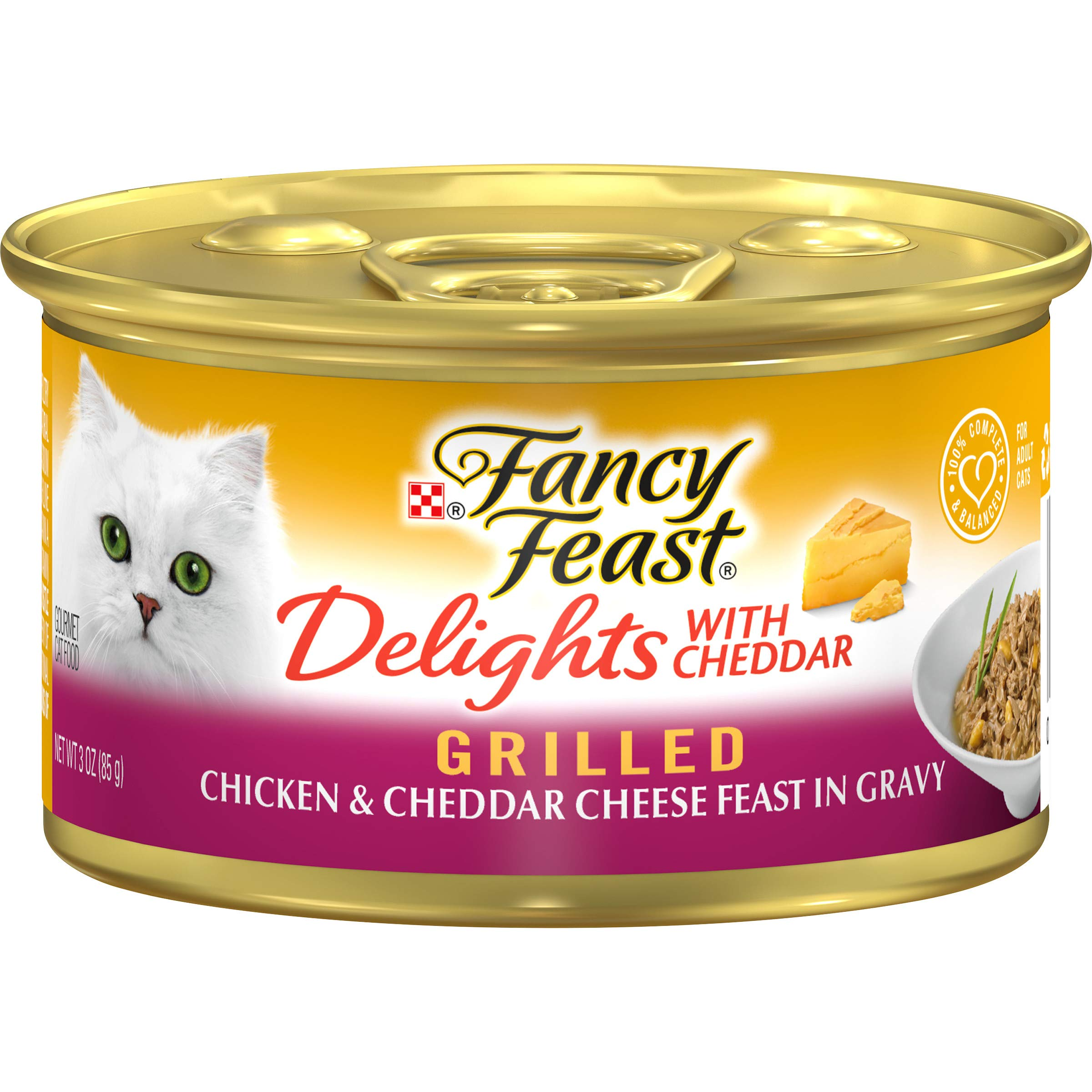 Purina Fancy Feast Grilled Gravy Wet Cat Food, Delights Grilled Chicken & Cheddar Cheese Feast - (24) 3 oz. Cans