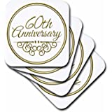 3dRose 60th Anniversary Gift - Gold Text for Celebrating Wedding Anniversaries - 60 Years Married Together - Ceramic Tile Coasters, Set of 4 (cst_154502_3)