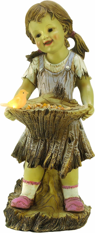 Furniture Creations Sweet Summertime Girl Bird Solar Light Garden Statue