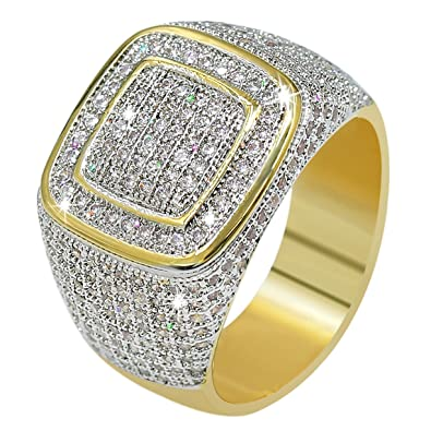 JINAO18K Gold Cluster ICED Out Lab Simulated Diamond Band Micropave Mens  Bling Ring (7) 7dca51107b90