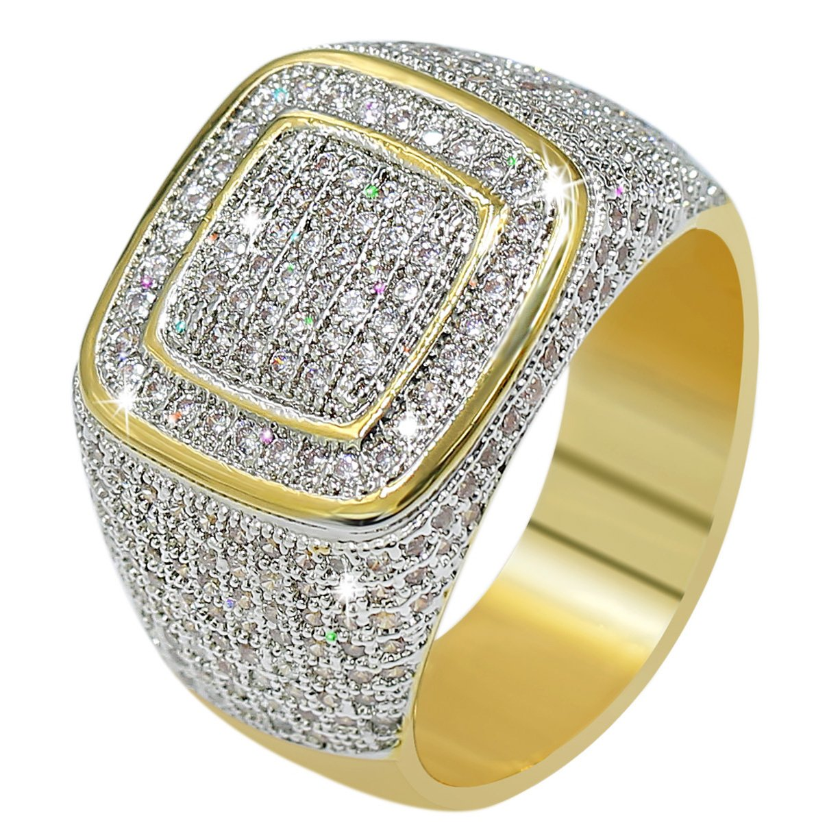 JINAO18K Gold Custer ICED OUT Lab Simulated Diamond Band Micropave Mens Bling Ring (10)