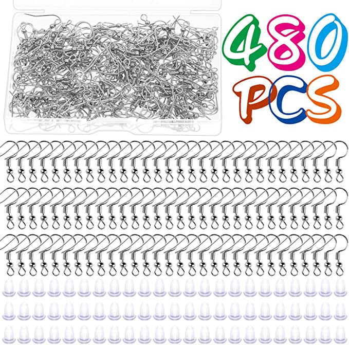 HEALLILY 40pcs Stainless Steel V Shape Earrings Hooks Hypo Allergenic Jewelry Earwire Hoop for Earring Making Mixed Color