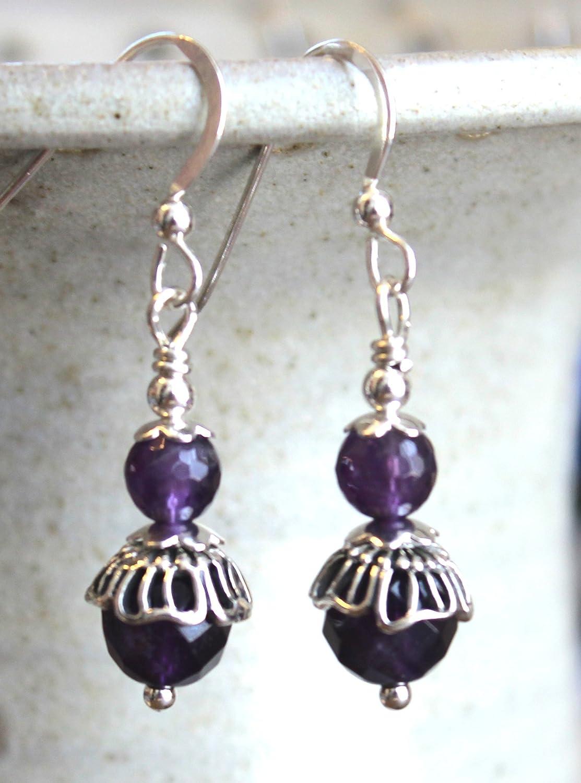 fa326f7d3 Amazon.com: Bali Amethyst Purple Gemstone Dangle Earrings Sterling Silver:  Handmade