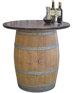 Tonneau De Vin En Fut De Chene Affille Avec Plateau En Verre Non