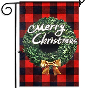 Vsadey Christmas Garden Flag, Vertical Christmas Boxwood Wreath Double Sided Burlap Buffalo Check Plaid Garden Flags for Outside, Small Christmas Yard Flag 12 X 18 Inch