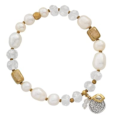 df8a831c4 Amazon.com: Silpada 'Down To Earth' 7.5 mm Freshwater Cultured Pearl & Rock  Crystal Stretch Bracelet in Sterling Silver and Brass, 6.75