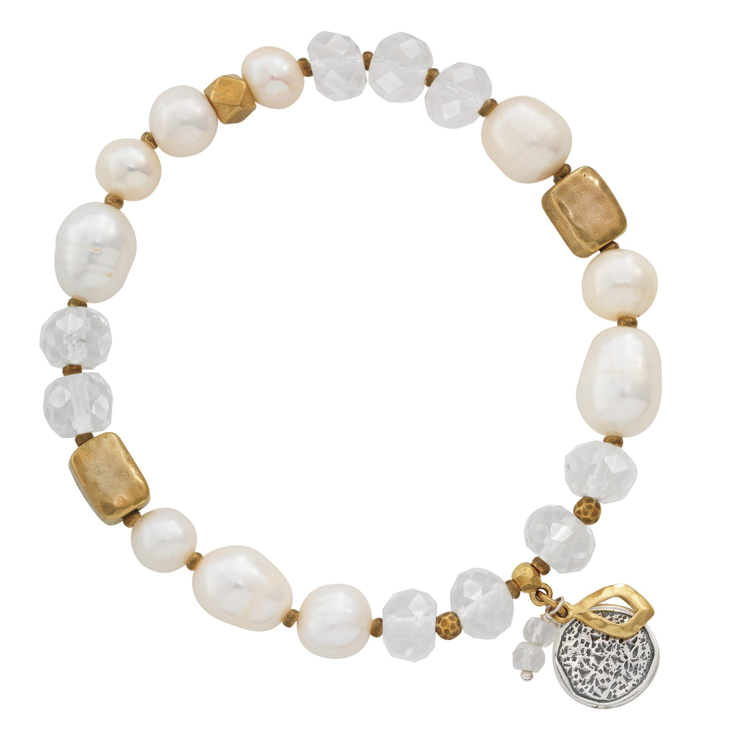 Silpada 'Down To Earth' 7.5 mm Freshwater Cultured Pearl & Rock Crystal Stretch Bracelet in Sterling Silver and Brass, 6.75''
