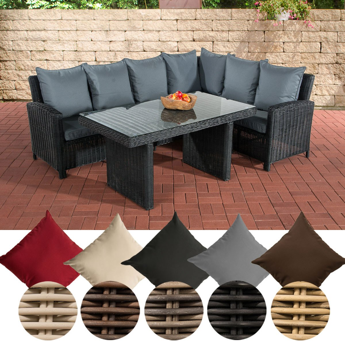 clp poly rattan garten sitzgruppe minari 5 mm rund geflecht eckbank tisch 140 x 80 cm 6. Black Bedroom Furniture Sets. Home Design Ideas