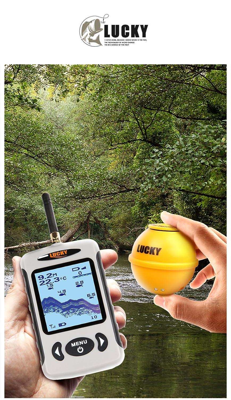 FFW718/Wireless Tragbarer Fisch-Finder 45/m//135ft Sonar Tiefe Sounder Alarm
