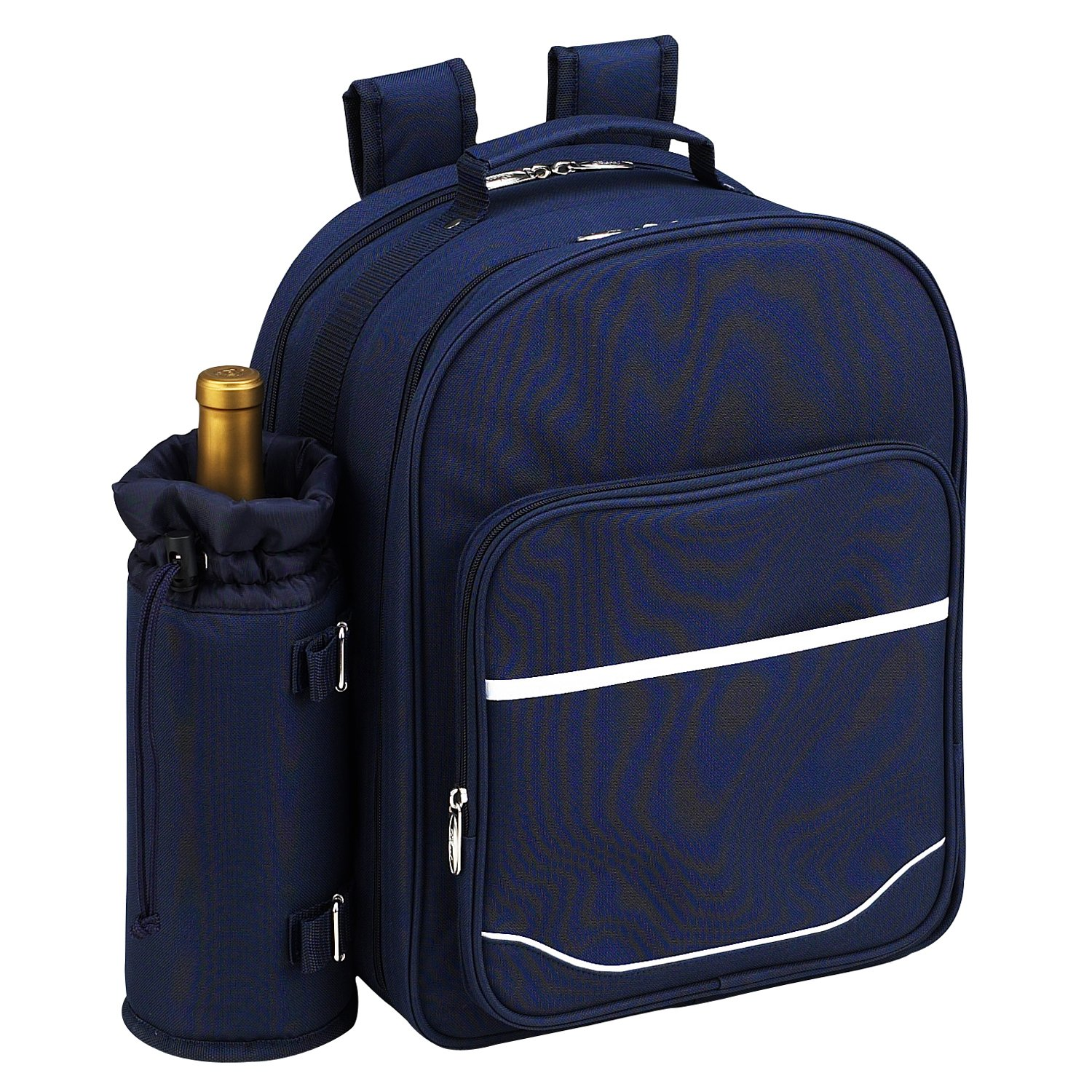 Picnic at Ascot - Deluxe Equipped 4 Person Picnic Backpack with Cooler & Insulated Wine Holder - Navy by Picnic at Ascot