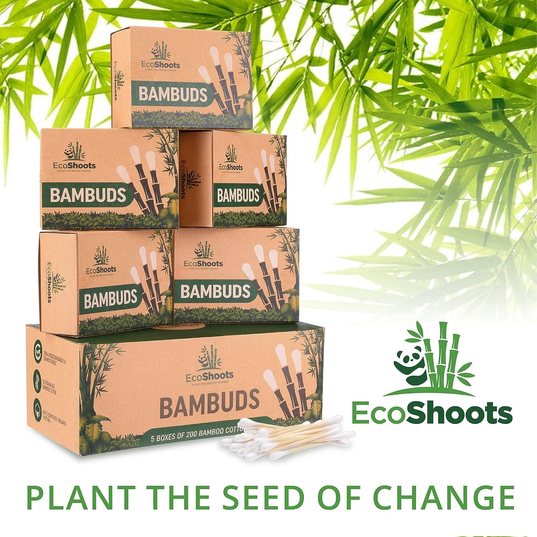 GOTS Certificados Auriculares de Algod/ón Org/ánico EcoShoots 1000 bastoncillos de algod/ón de bamb/ú Biodegradable y compostable Value Pack de 5x200 Embalaje libre de pl/ástico reciclado