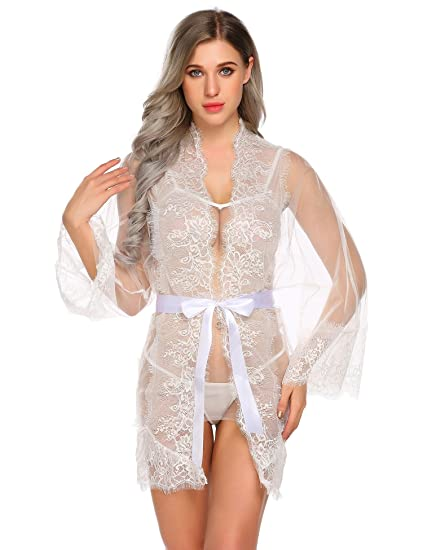 f79b9e5cfba Women Sexy Lace Lingerie Set Night Dressing Robe For Women Front Open See  Through Sleepwear