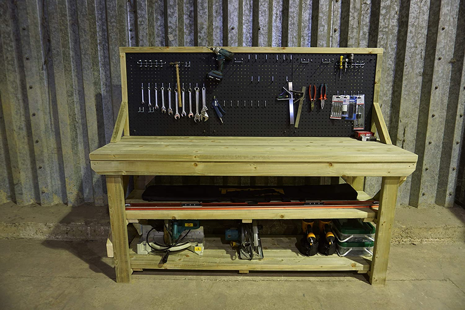 Workbench With Pegboard and Wheels With Brake Castors Pressure Treated 4ft Heavy Duty 46 Piece Peg Kit INCLUDED Handmade Garage Workshop Work Table