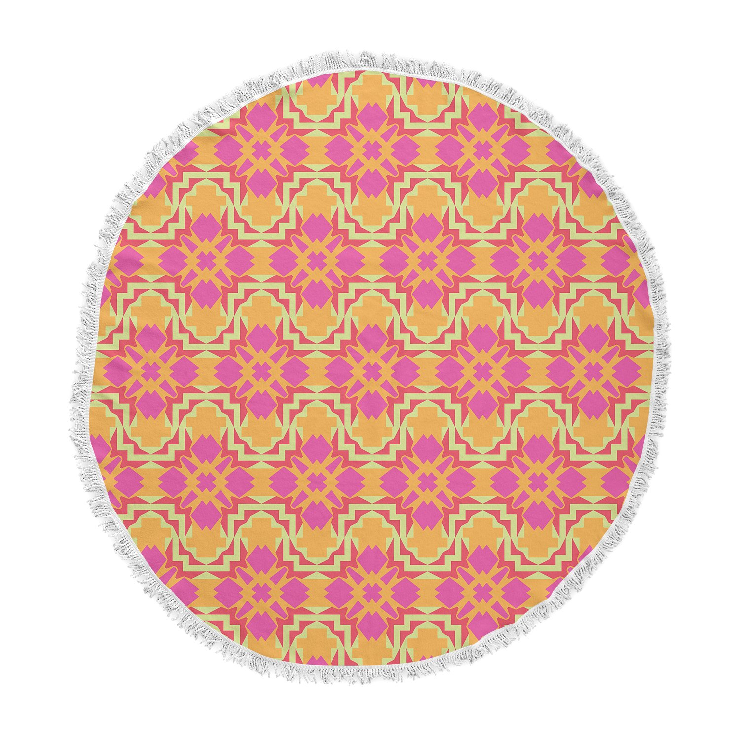 Kess InHouse Miranda MOL Jazzy Orange Pink Round Beach Towel Blanket