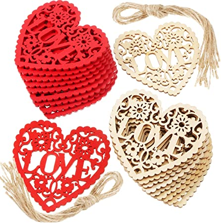 54 Pieces Valentines Day Heart Wooden Embellishments DIY Wooden Ornaments Wedding Wooden Love Heart Slices Hollowed-Out Crafts Hanging Ornaments with Rope for Valentines Day Wedding Party Favors