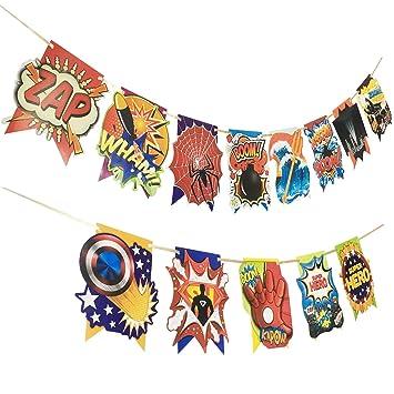 Amazon.com: Superhéroe Feliz cumpleaños pancarta suministros ...