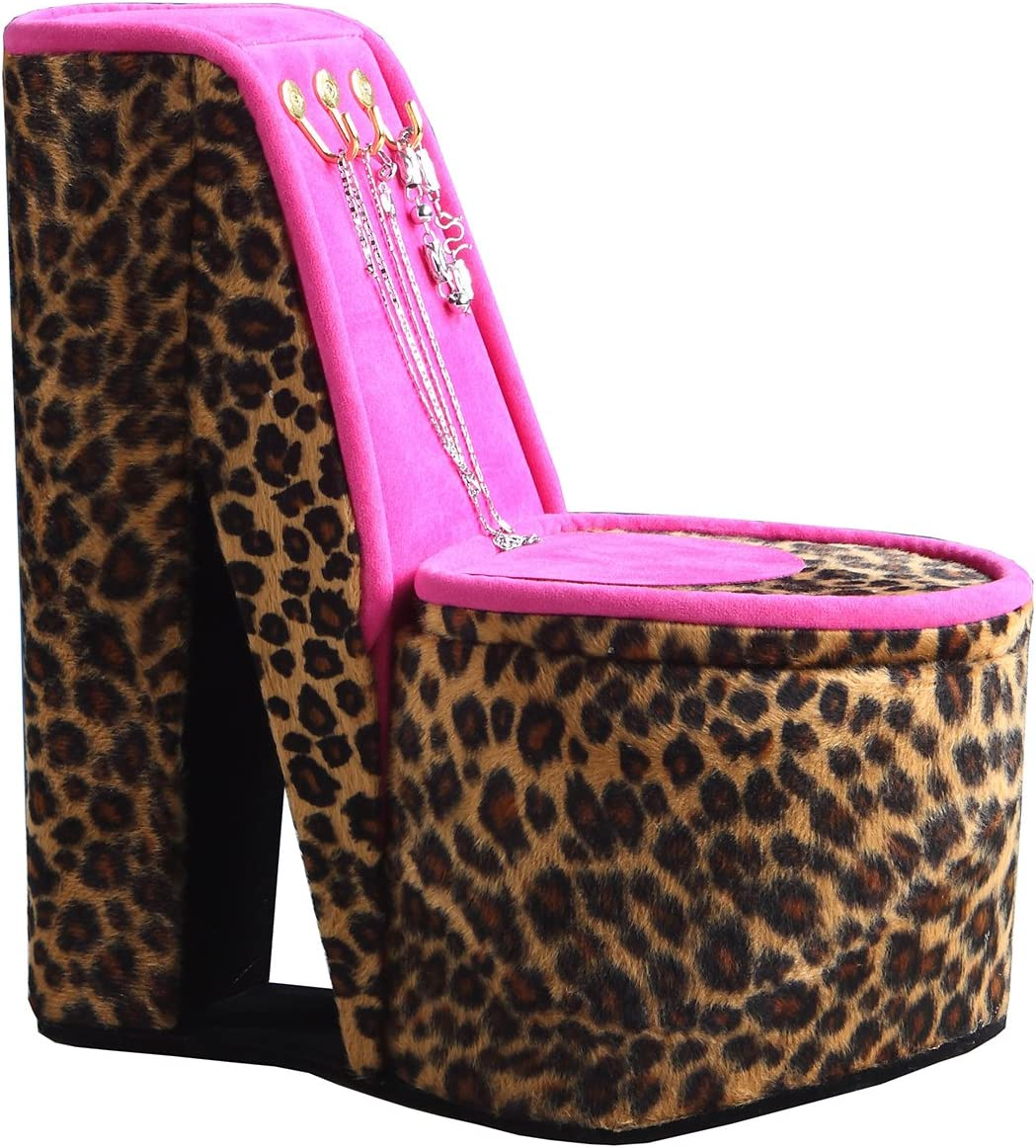 ORE International HBB1826 High Heel Shoe Display with Hooks Jewelry Box, Cheetah Print