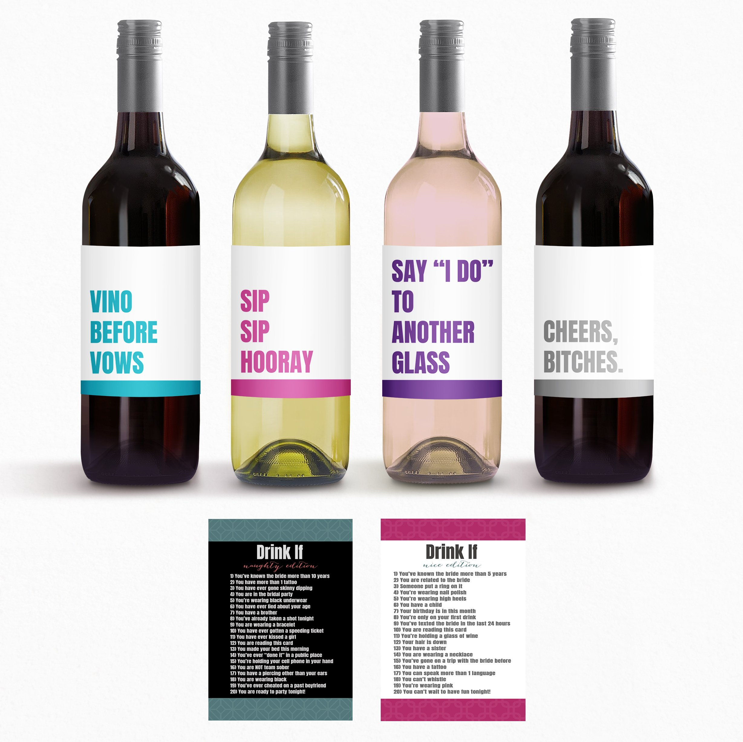 Bachelorette Game And Bachelorette Party Wine Labels for Bachelorette Party Decorations Bundle