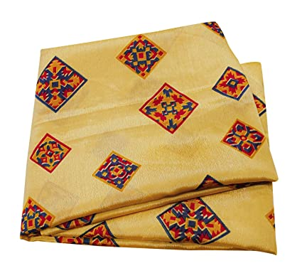 PEEGLI Vendimia Indio Abstracto Impreso Saree Amarillo Seda Mezcla Mujeres Sarong Abrigo Vestido Sari