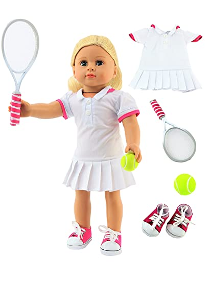 8b95fdeca6571 Amazon.com: White & Pink Tennis Dress | Includes Shoes, Tennis ...