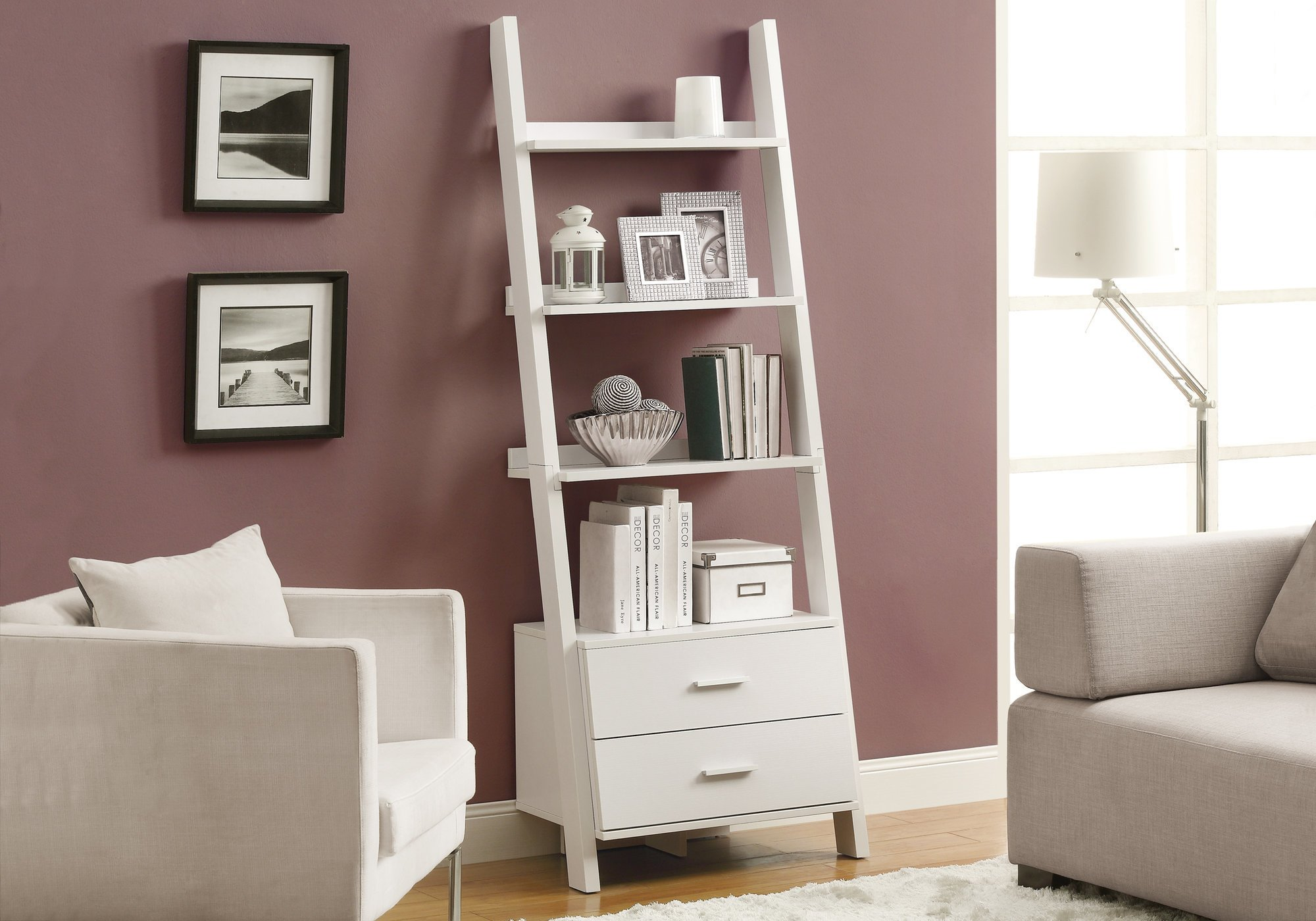 Monarch Specialties I 2562, Bookcase, Ladder with 2-Storage Drawers, White, 69''H