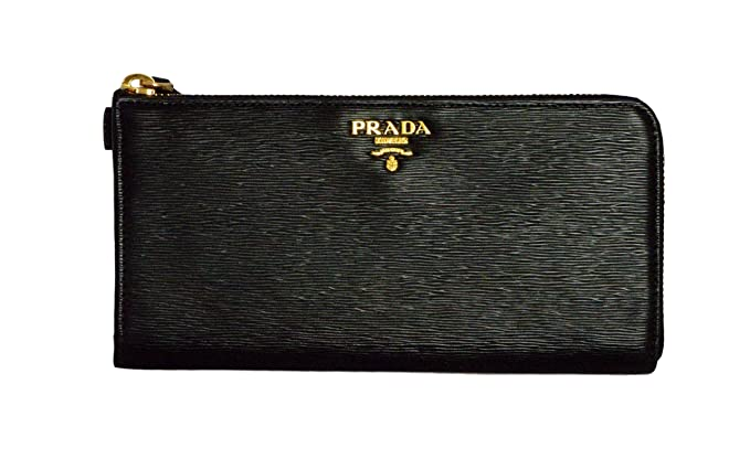 9ce86f8a1884 Prada Womens 1ML183 2EZZ Vitello Move Leather Wallet Nero (Black) at ...
