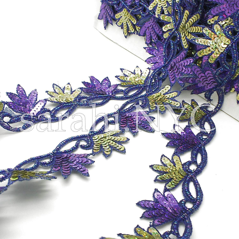 Sarahi.NYC Purple Green Edging Sequin Beaded Trim