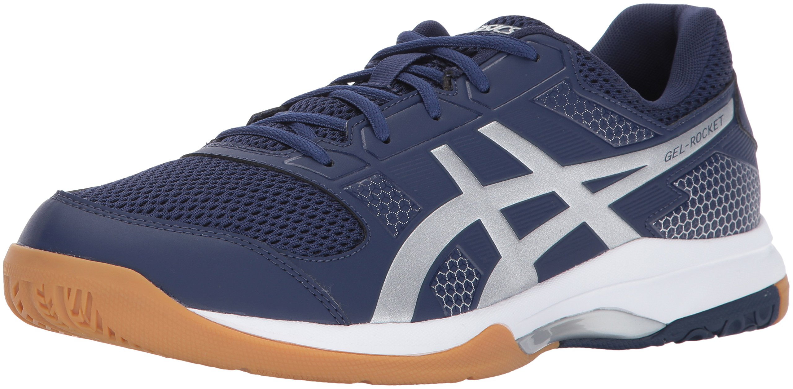 b7bd6cf0d41 ASICS Mens Gel-Rocket 8 Volleyball Shoe, Indigo Blue/Silver/White, 7 Medium  US