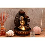 "Water Fountain Buddha Prayer with LED Light / 4 Water Cups / Golden / Indoor / 8.5""x8.5""x12"" 