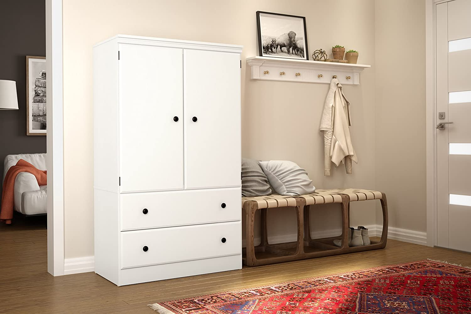 Bon Amazon.com: South Shore Morgan 2 Door Armoire With Drawers, Pure White:  Kitchen U0026 Dining