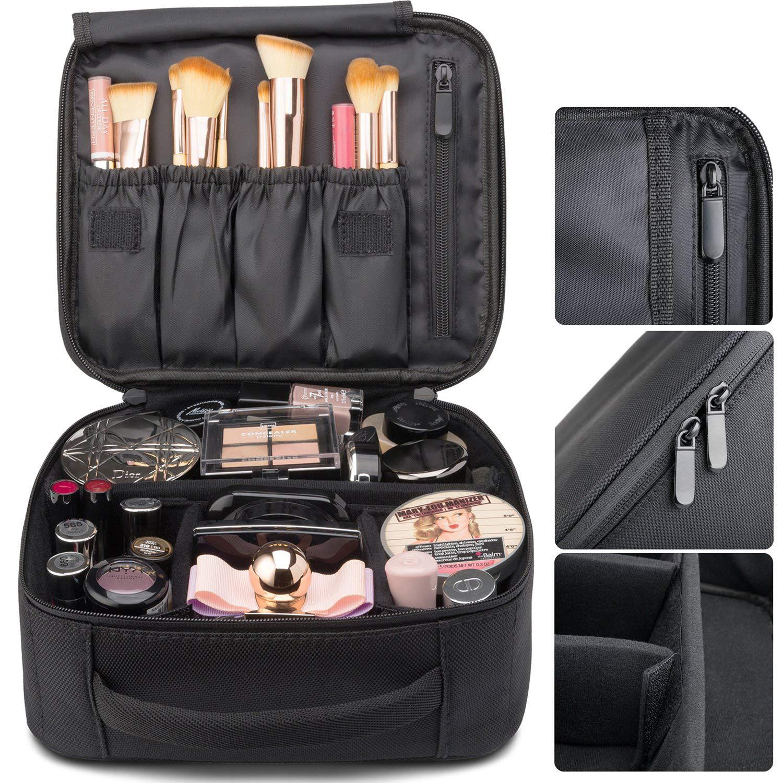 e47de346bcb9 Amazon.com : SunTrade Travel Makeup Bag, Black Portable Cosmetic ...