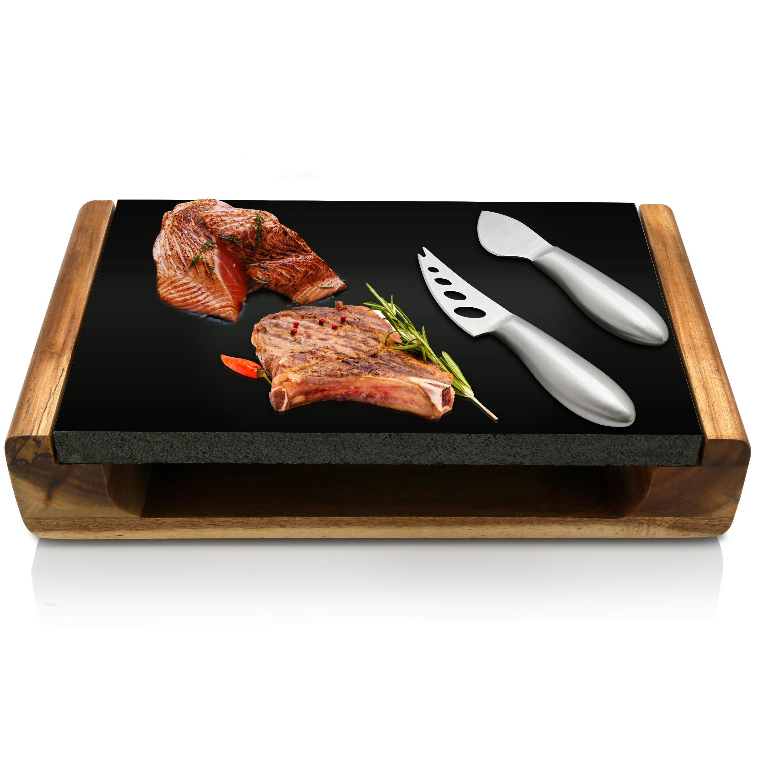Hot Lava Stone Steak Plate - Lava Rock Cooking Stone Grill/Food Serving Platter Set w/ Acacia Wood Tray, Lava Rock Slab, Stainless Steel Knives - Lava Rock For Cooking Steak, Meat - NutriChef PKLVST10