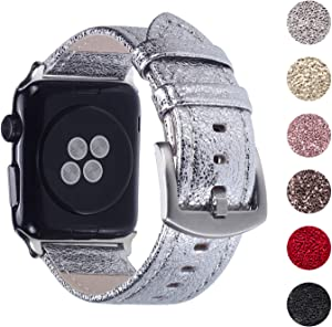 Pantheon Compatible Apple Watch Band 44mm / 42mm Shiny Leather Glitter Bands for Women - Series SE 6 5 4 3 2 1 - Shiny Silver