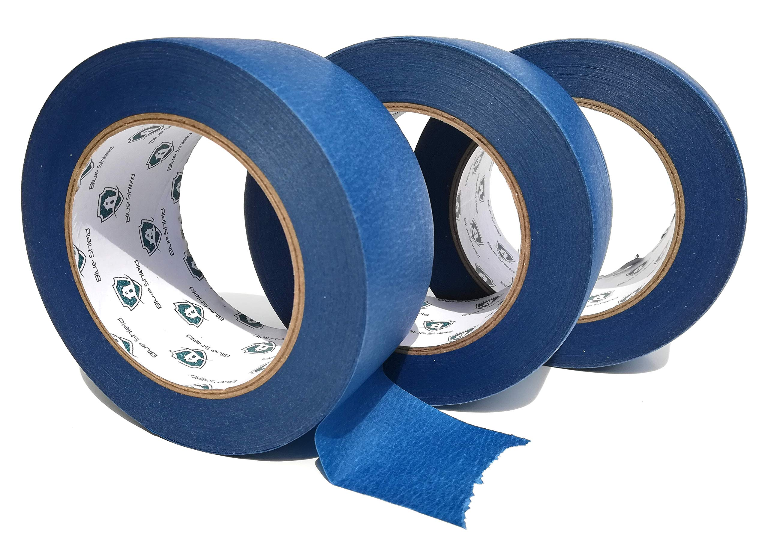 2'' X 60 Yards 3 Pack (180 Total) Professional Painters Masking Tape by BLUE SHIELD Easy Tare Crepe Paper, Sharp Paint Lines, Long Lasting Adhesive, Bleed Proof, Residue Free, Indoor/Outdoor Home/Auto