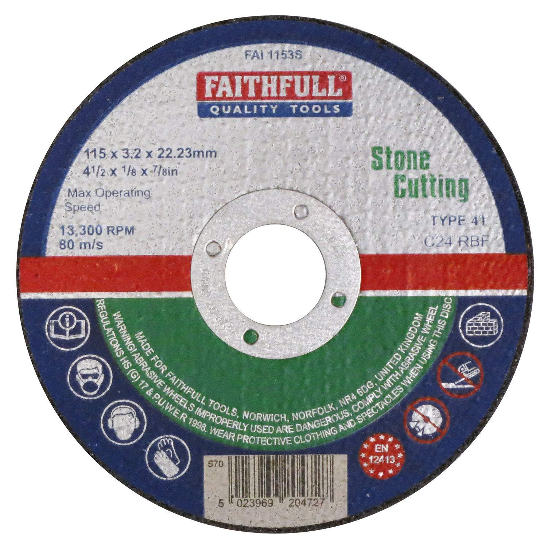 Faithfull Cut Off Wheel 300X3.5X22 Stone FAI3003522S 300mm Diameter Cutting and Grinding Discs Discs - Cutting and Grinding Power Tool Accessories Power Tools Stone Flat Cutting Discs 300mm