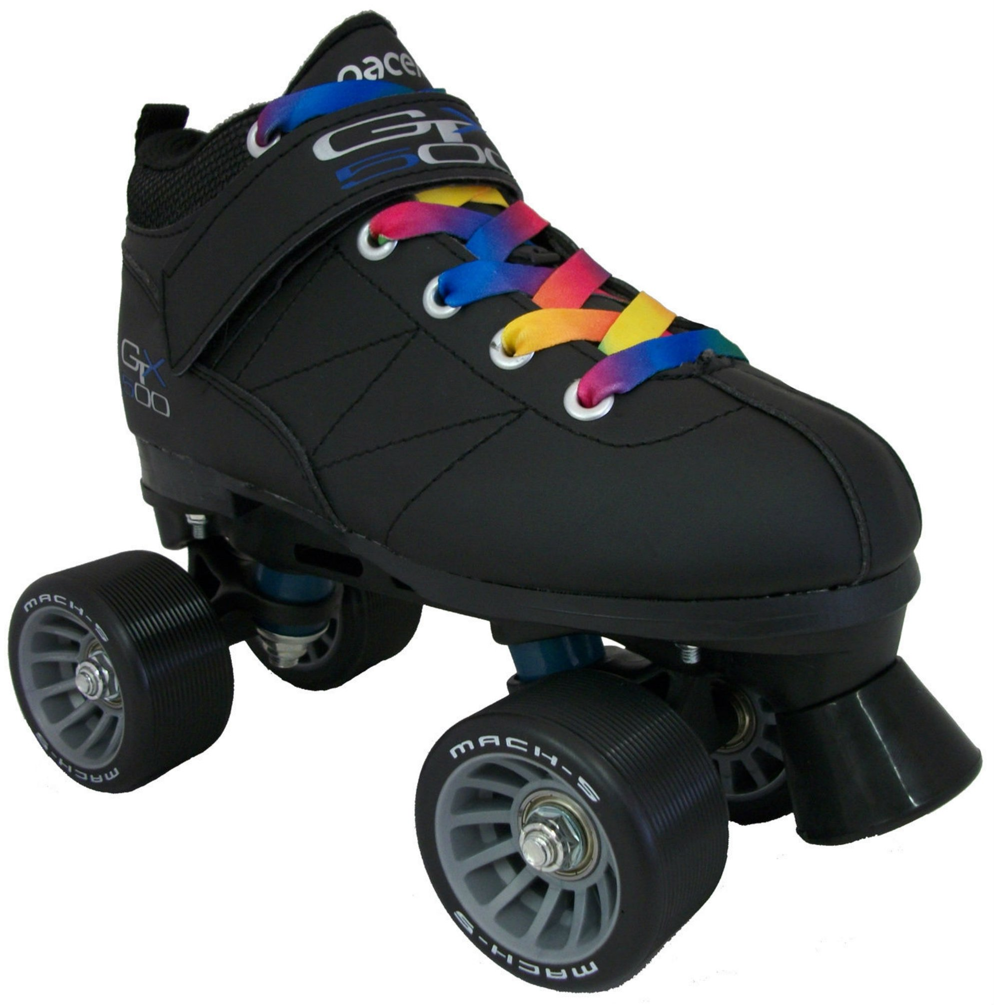 Black Pacer Mach-5 GTX500 Quad Speed Roller Skates w/ 2 Pair of Laces Rainbow & Black