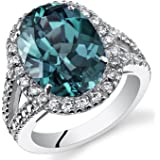 8.50 Carats Simulated Alexandrite Engagement Ring Sterling Silver Sizes 5 to 9