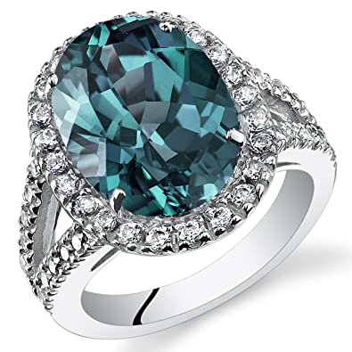 8.50 Carats Simulated Alexandrite Engagement Ring Sterling Silver Size 7
