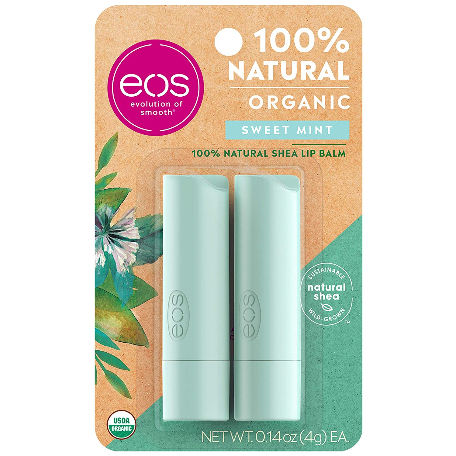eos USDA Organic Lip Balm - Sweet Mint | Lip Care to Moisturize Dry Lips | 100% Natural and Gluten Free | Long Lasting Hydration | 0.14 oz | 2 Pack