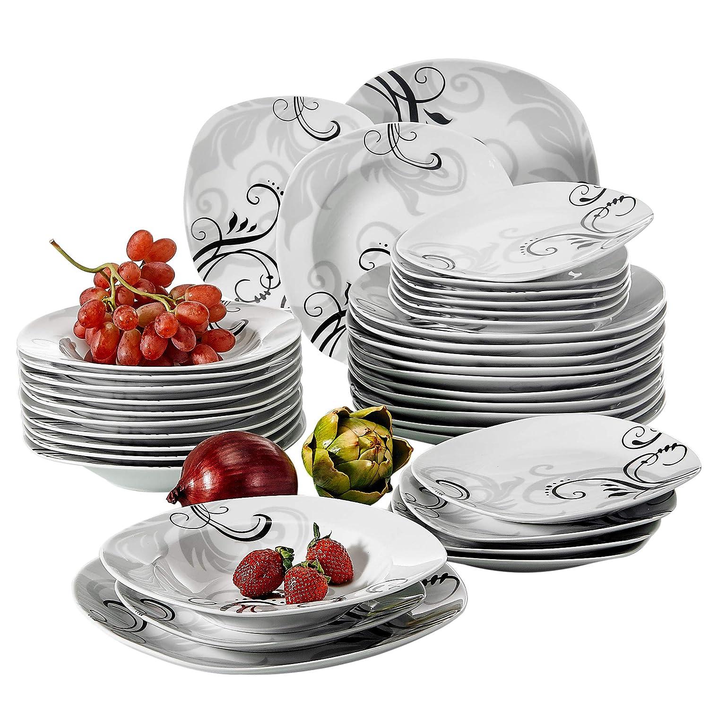 VEWEET Tafelservice 'Zoey' aus Porzellan 36 teilig   Tellerset für 12 Personen   Mit je 12 Dessertteller, Tiefteller und Flachteller