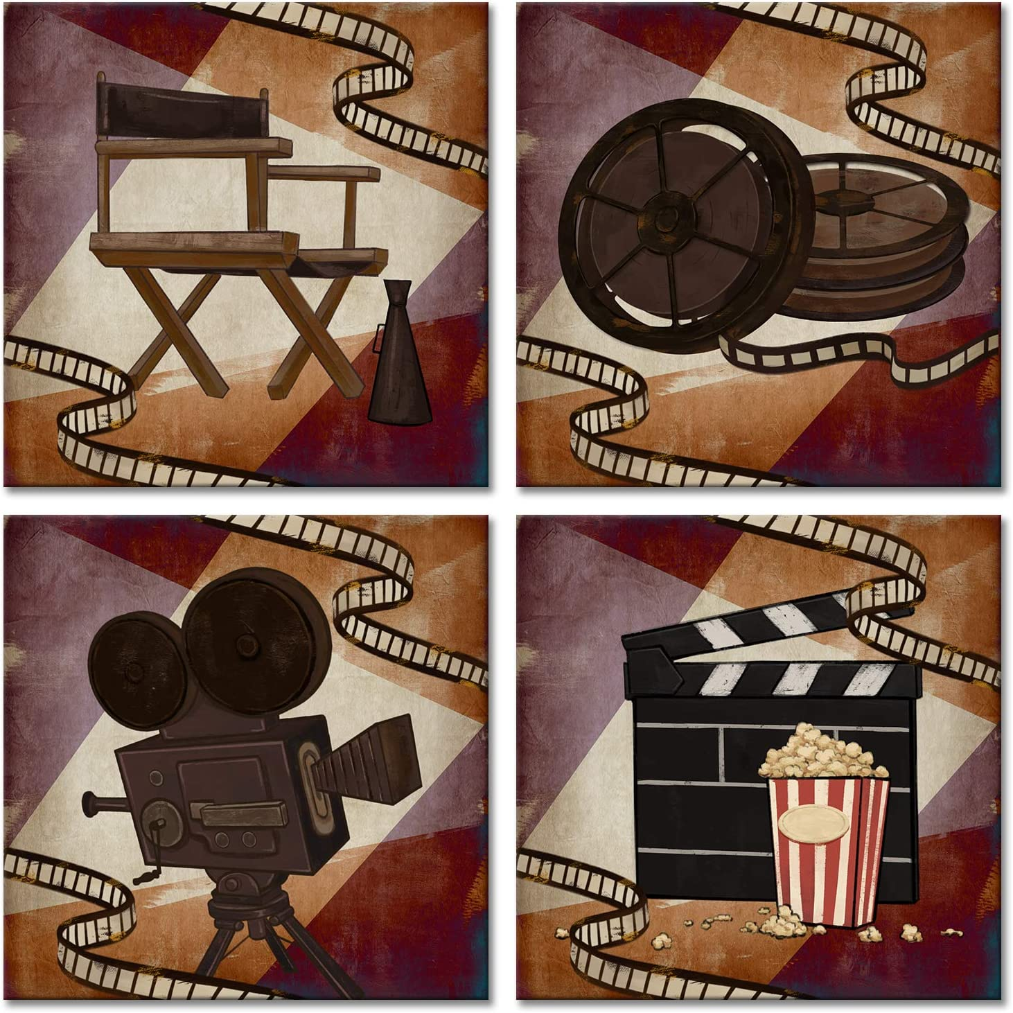 RnnJoile 4 Piece Home Movie Theater Wall Art Vintage Classic Film Reel Cinema Painting Poster Print Retro Old Fashion Artwork for Media Room Bar Pub Decoration Framed Ready to Hang 12x12 Inch