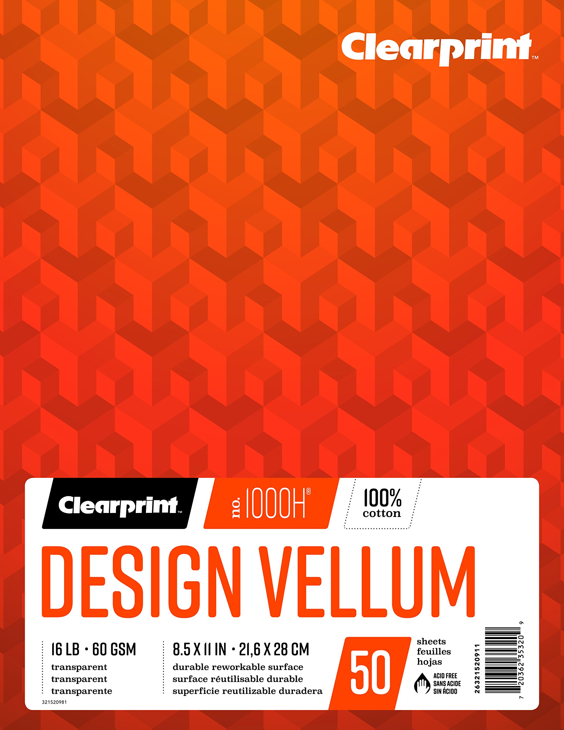Clearprint 1000H 100% Cotton Design Vellum Pad, 16 LB, 60 GSM, 8.5 x 11 Inches, 50 Sheets Per Pad, 1 Each (26321520911)