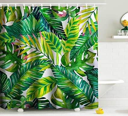 Goodbath Green Banana Leaf Shower Curtain Tropical Palm Leaves Waterproof And Anti Mildew Fabric