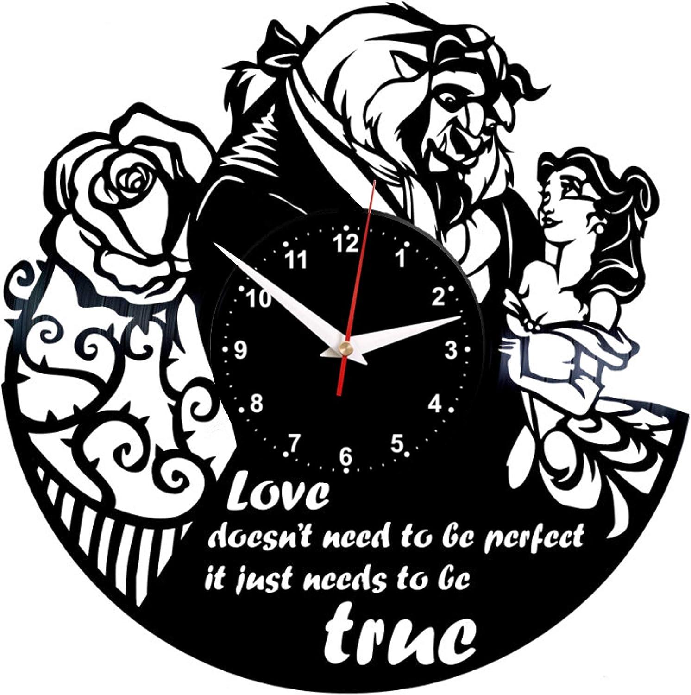 EVEVO la Bella y la Bestia Reloj De Pared Vintage Diseño Moderno Reloj De Vinilo Colgante Reloj De Pared Reloj Único 12