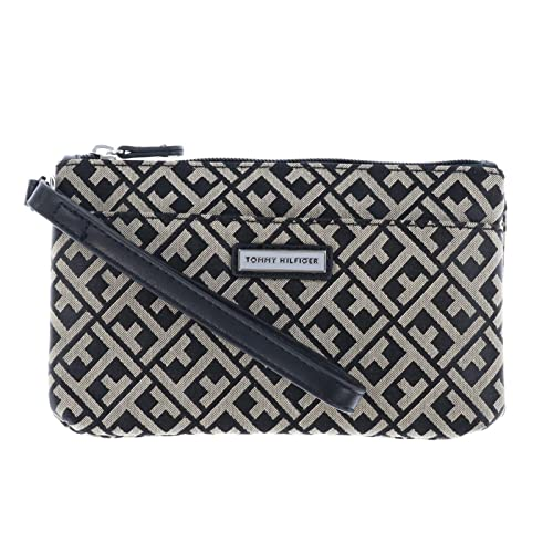 56f6e616127 Image Unavailable. Image not available for. Color: Tommy Hilfiger Womens  Two Pocket Wristlet - Black Beige