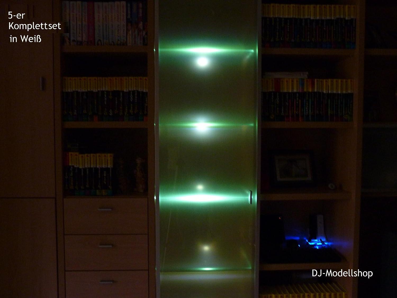 5er Set LED Blau Glasbodenbeleuchtung Glasplattenbeleuchtung