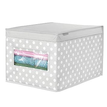 mDesign Caja con tapa grande con estampado de puntos - Cajas apilables para guardar ropa o zapatos - Cajas para armarios con tapa y ventana - gris/blanco: ...