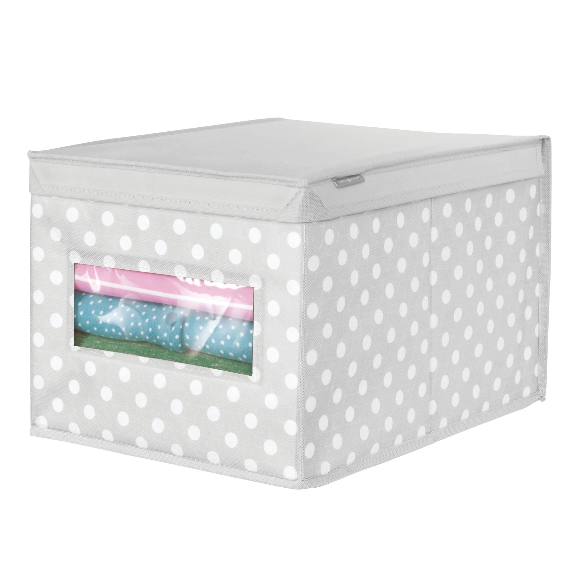 mDesign Soft Stackable Fabric Closet Storage Organizer Holder Box - Clear Window, Attached Hinged Lid, for Child/Kids Room, Nursery - Polka Dot Pattern - Large, Pack of 2, Light Gray with White Dots by mDesign (Image #6)