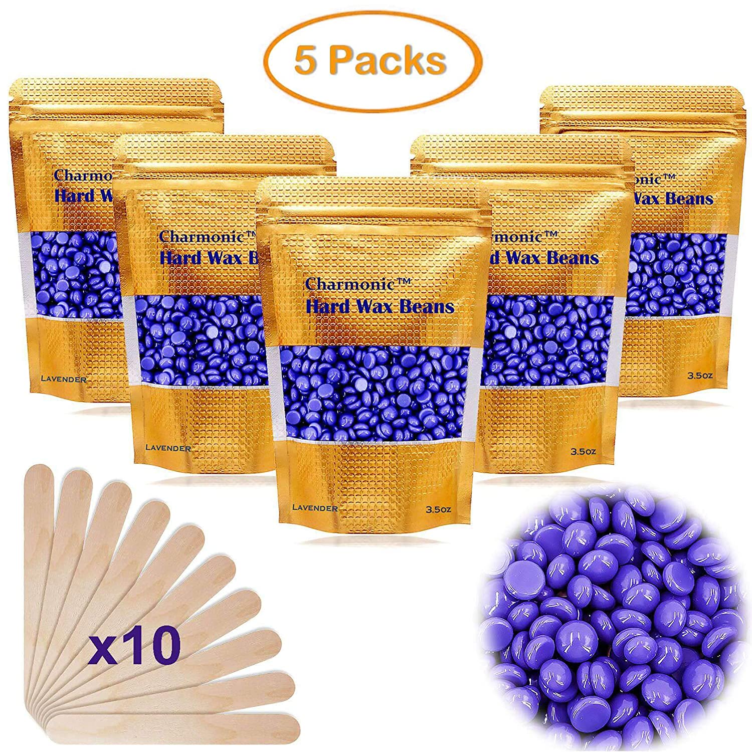 17.5 Oz Hair Wax Beans by Charmonic, Hard Body Wax Beans, Hair Removal Depilatory Wax European Beads for Women Men 500g/17.5Oz (lavender)